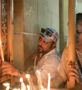 Coptic Christians celebrate the birth of the Virgin Mary at a church in Eastern Cairo.
