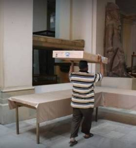 Egyptian Museum receives two sarcophagi lids retrieved from Israel on Jun 21, 2016