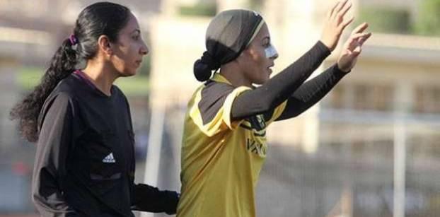 Woman, Egyptian, veiled and football midfielder