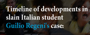 Timeline of developments in slain Italian student Giulio Regeni's case