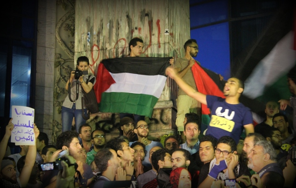 Activists protest in solidarity with Gaza in Cairo
