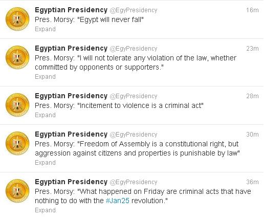 Egypt's Mursi: Incitement to violence is a criminal act
