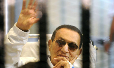 Hosni Mubarak arrives at court