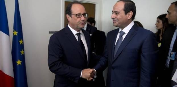 السيسي وأولوند يبحثان تحقيقات الطائرة والأزمتين السورية والليبية