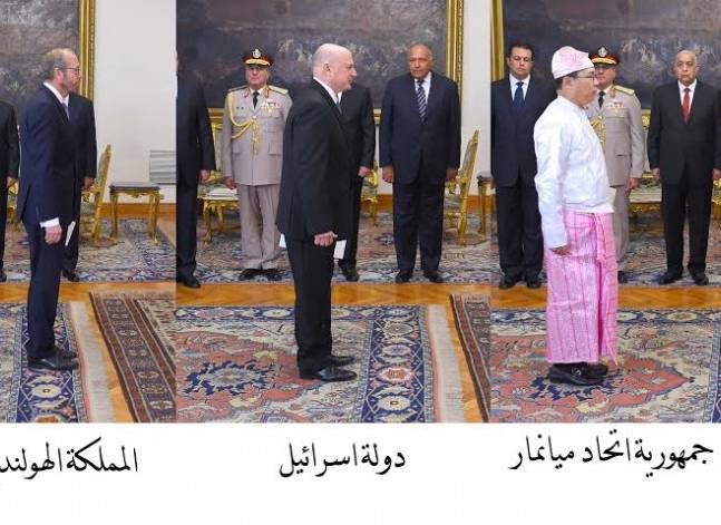 السيسي يتسلم أوراق السفير الإسرائيلي الجديد وسبعة سفراء آخرين
