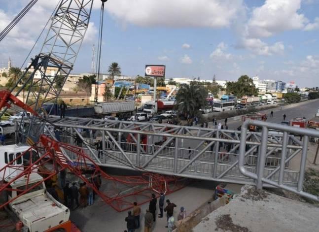 إصابة شخصين إثر انهيار كوبرى للمشاة بطريق الإسكندرية الصحراوى