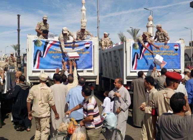 الجيش يواصل توزيع العبوات الغذائية المخفضة ويركز على الصعيد وجنوب سيناء