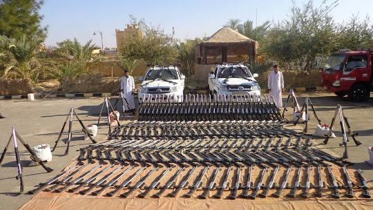 الجيش: حرس الحدود يحبط محاولة تهريب 200 بندقية خرطوش وذخائر بسيوه